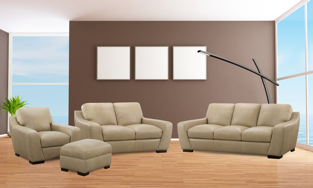 Top grain leather furniture set includes couch, loveseat, chair and ottoman in a taupe hue.