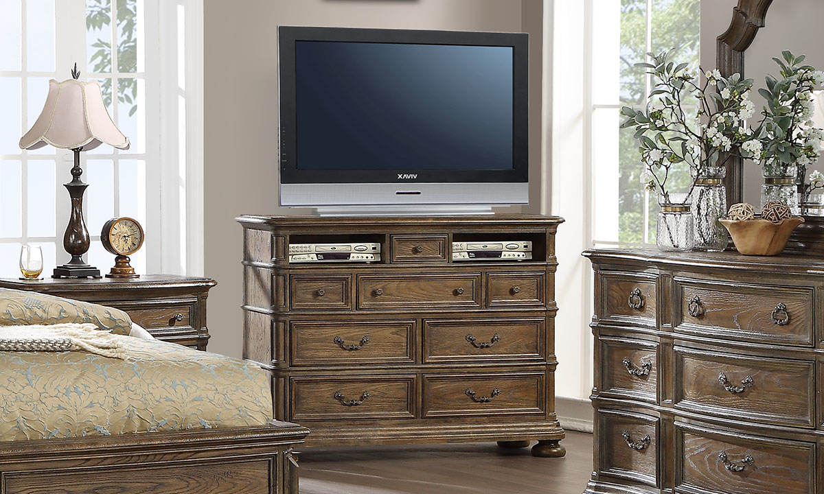 """41"""" high media chest that features 2 open cubies and rear cable access points."""