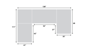 Dimensions for the Berkeley Brown Leather Chaise Sectional from Niroflex Leather.