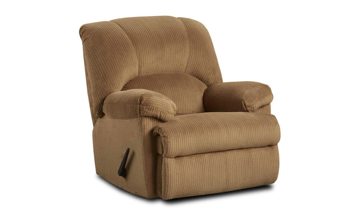 Oversized camel taupe colored recliner with manual lever-release reclining mechanism.