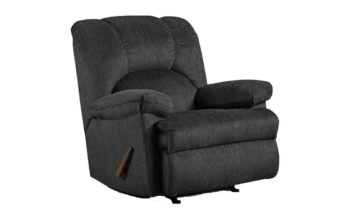 Oversized slate grey fabric upholstered recliner with lever-release reclining mechanism.