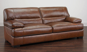 Contemporary sofa made of top grain leather in a chestnut brown.