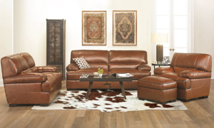 Brown leather living room set including the contemporary Kipling Bramble loveseat