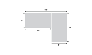 Dimensions for the Casper Grey Sectional