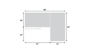 Dimensions for the Sleeper Casper Grey Sectional