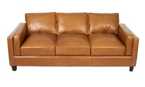 Top grain leather sofa with a modern, track arm profile and tapered wood legs.