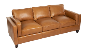 Angled shot of the Taos Butterscotch top grain leather couch.