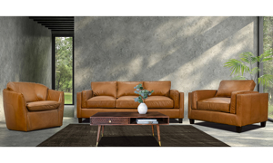 Room scene of the Taos Butterscotch top grain leather living room set from Rocky Mountain Leather Company.