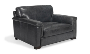 Medici grey leather armchair that was handcrafted in Italy.