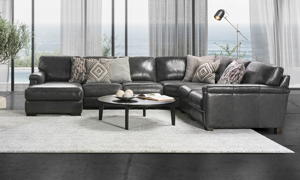 Premium Italian leather on a grey sectional from Spagnessi.