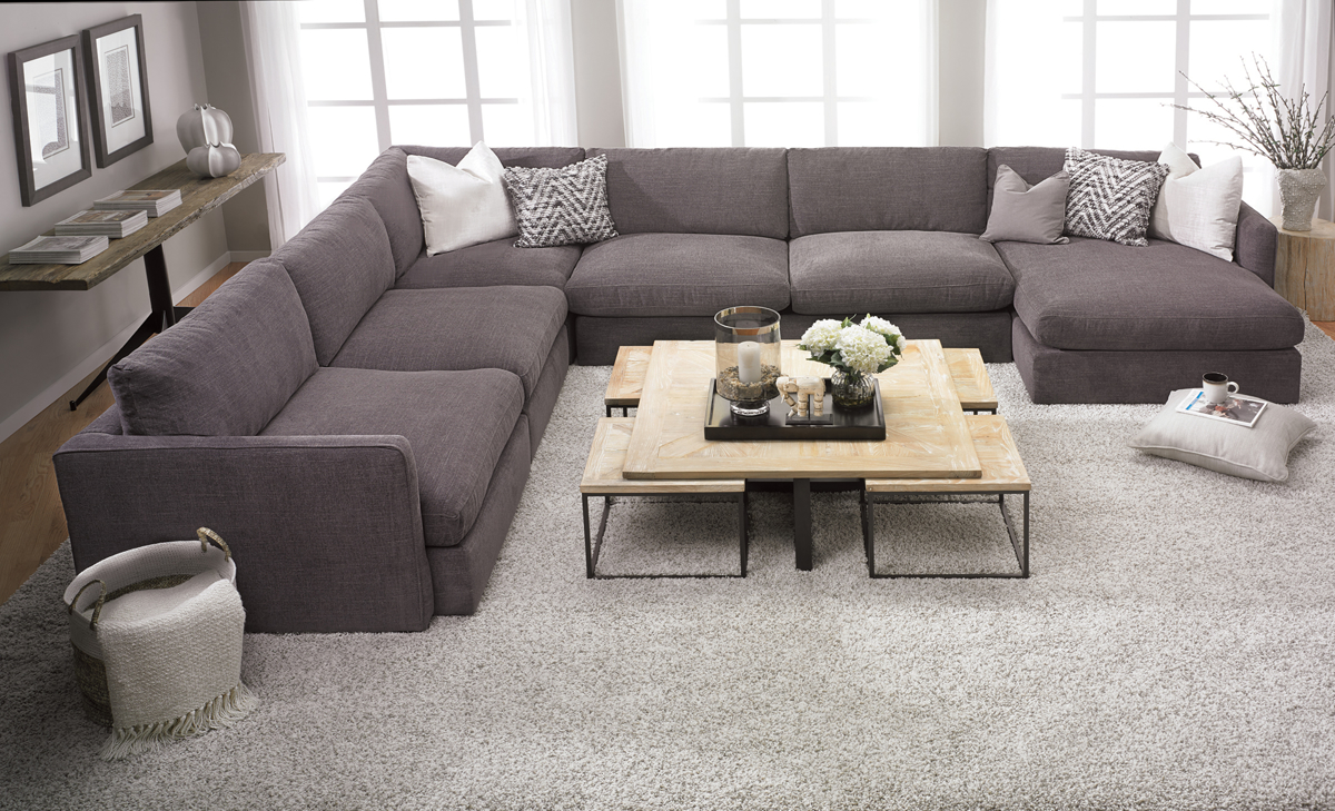 Lincoln Park Charcoal 5-Piece Chaise Sectionals