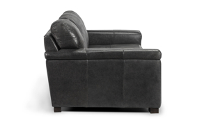 Durable and modern grey leather sofa made of quality materials built to stay in your home for years.