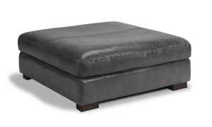 Medici grey leather ottoman handcrafted in Italy on a hardwood frame.