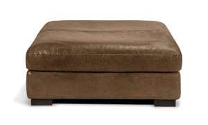 """44"""" wide square brown leather ottoman."""