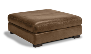 Medici brown leather ottoman handcrafted in Italy on a hardwood frame.