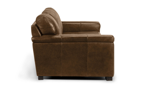Durable and modern brown leather sofa made of quality materials built to stay in your home for years.