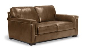 Medici brown leather loveseat is made from top quality leather making it a long lasting piece for your living room.