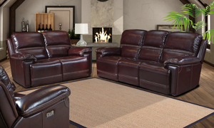 Jenkins Living Room Set includes a power reclining sofa and loveseat in a burgundy leather.