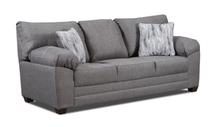 """86"""" wide neutral grey couch with plush pillowtop arms includes 2 pillows."""