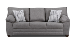 Grey sofa constructed with hardwood frames and sinuous springs.