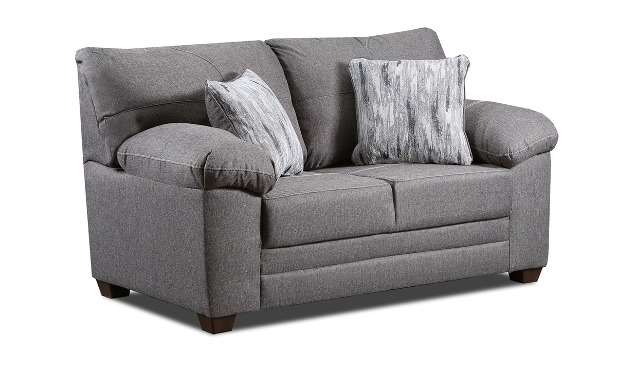 """61"""" wide loveseat in a gray fabric with coordinating toss pillows."""