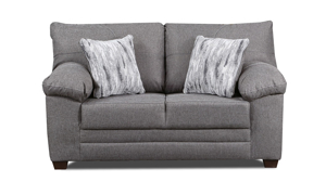 Grey loveseat constructed with hardwood frames and sinuous springs.