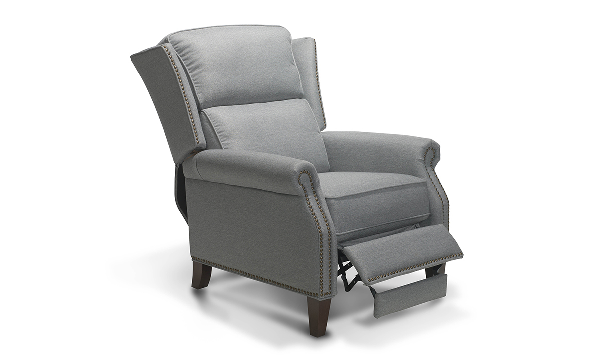"""33.5"""" wide pushback recliner in a neutral grey tone."""
