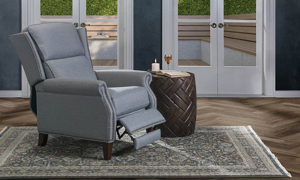 Grey wingback manual recliner now on sale.