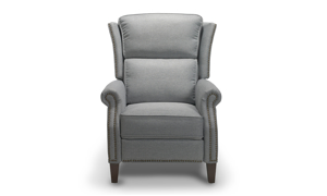 Contemporary grey recliner constructed of a hardwood frame and sinuous springs.