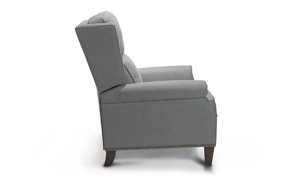 Classic recliner in a gray polyester fabric.