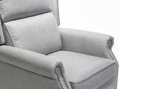 Neutral grey chair with classic style that also reclines easily with a simple push.