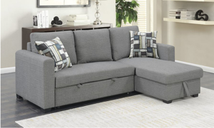 Room shot of the Langley Grey Reversible Sleeper Sofa Chaise.