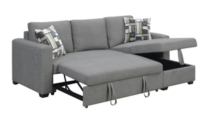 Detail shot of the Langley Grey Sleeper sofa with pop-up sleeper platform extended and lift-top chaise storage cavity open.