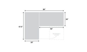 Dimensions graphic of the Langley Grey Sofa Chaise to illustrate reversible chaise.