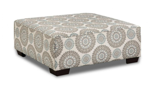 Square ottoman in a suzani pattern fabric that was handmade in the USA.