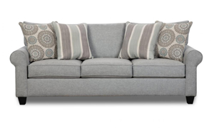 """88"""" wide American made sofa in a cool blue fabric."""