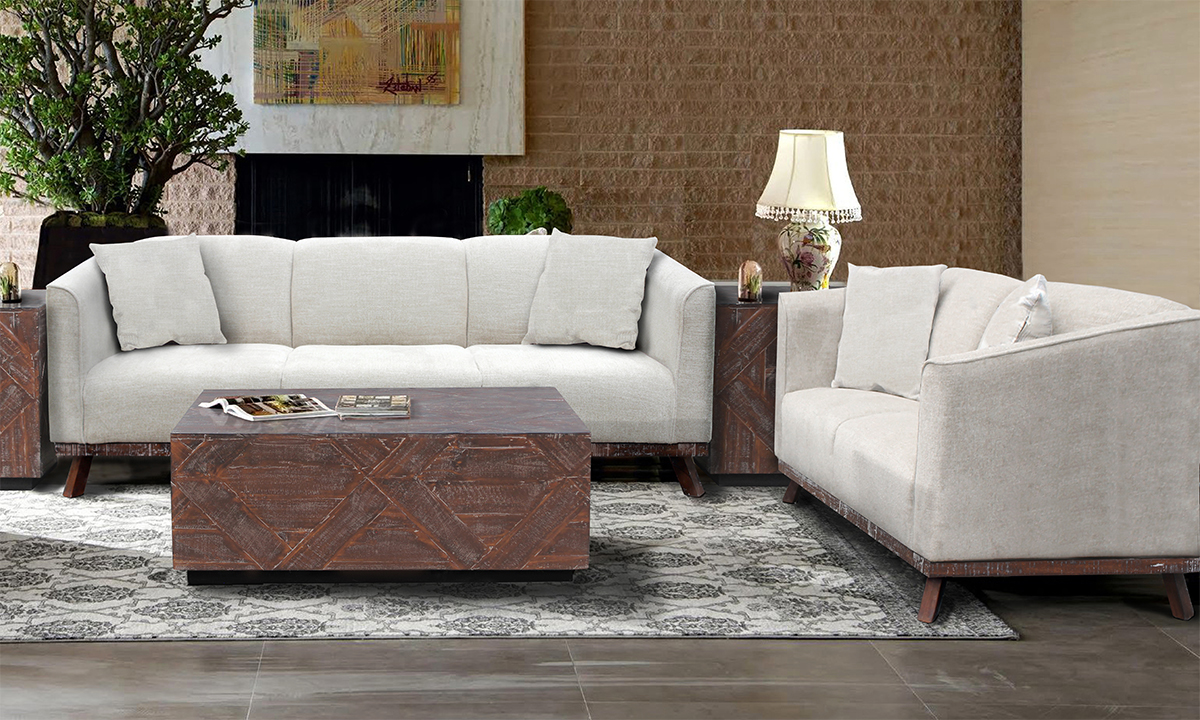 Living room furniture set from Carbon includes sofa and loveseat in a beige tone.