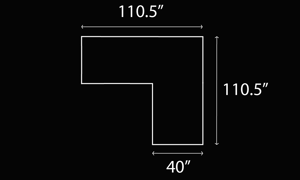 Dimensions schematic for the Roswell Horizon modular fabric sectional.