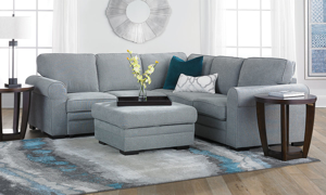 Prospect Grey Sleeper Sectional and Storage Ottoman Room Shot