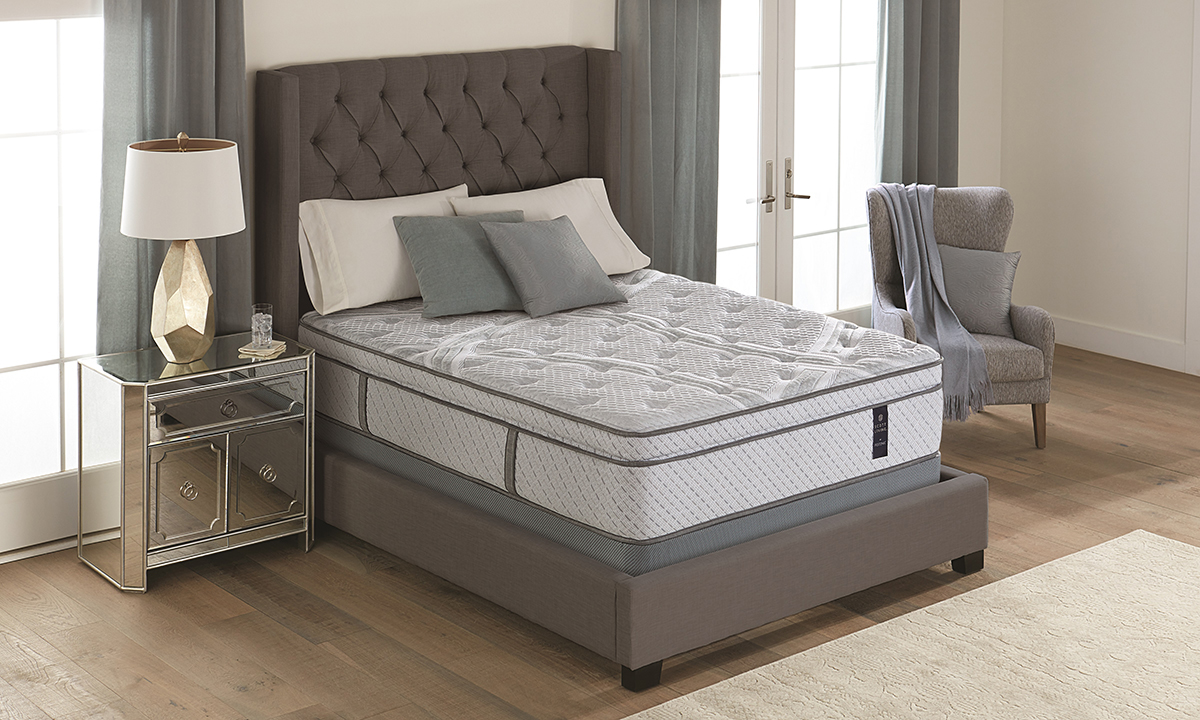 Plush hybrid Evanton mattress from Scott Living with a cooling fabric cover.