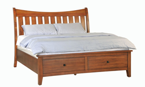 Willows bed with storage drawers in the footboard.