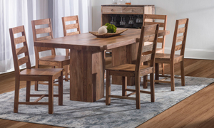 Rustic dining room set that has been handcrafted in India.