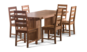 """82"""" wide solid wood dining room table that includes 4 chairs."""