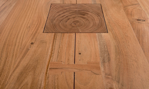 Close up shot of the Greenwich Solid Acacia wood table.