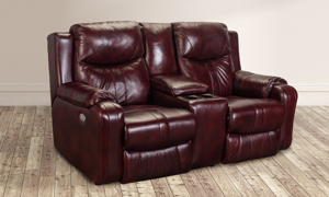 Infinite Motion Marvel Chianti Leather Power Reclining Console Loveseat