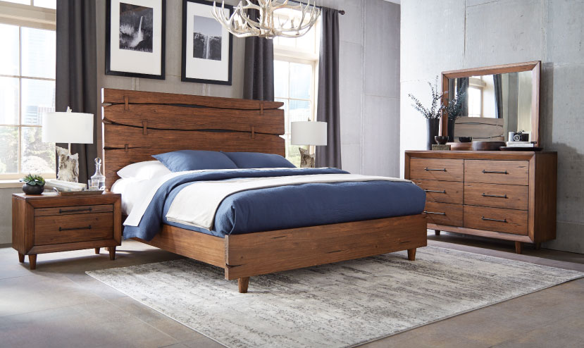 DENVER LIVE EDGE SOLID PINE FULL PANEL BEDROOM