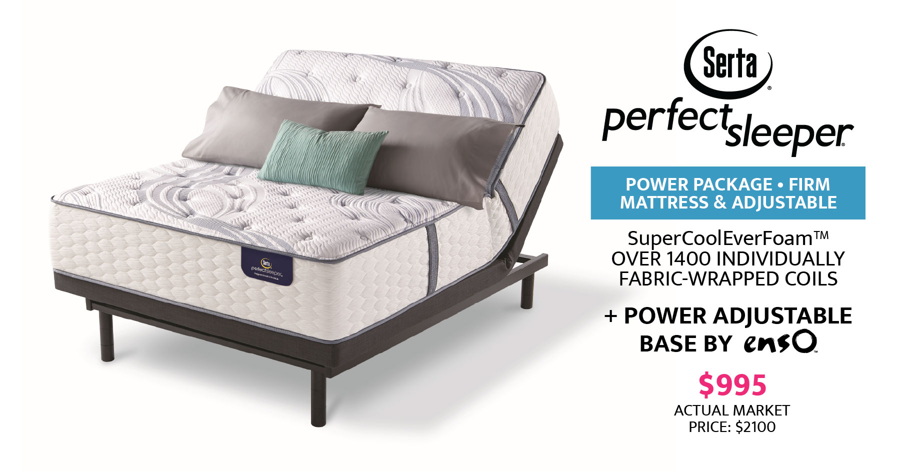 Serta Perfect Sleeper and Power Adjustable Base $995