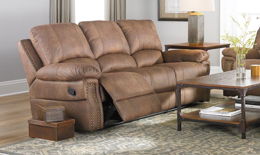 Dual Reclining Sofa with Oversized Nail Head Trim