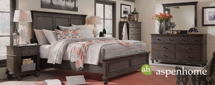ASPENHOME OXFORD PEPPERCORN QUEEN PANEL BEDROOM