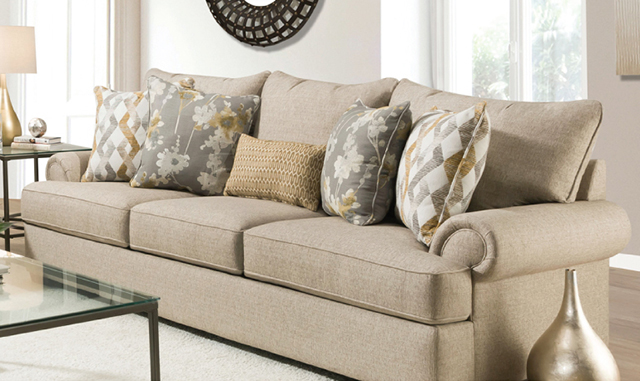 98-INCH ROLL ARM SOFA WITH 5 PILLOWS